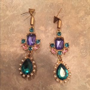 Antique Gold-Tone Multi-Color Crystal Earrings